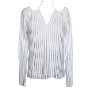 Express White Vertical Sweater Knit Top Large